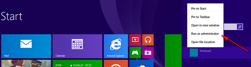 modificare fisier hosts Windows 8, Windows 8.1
