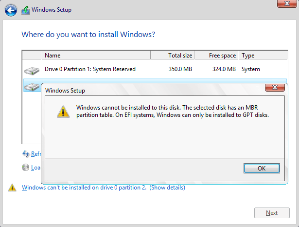 Windows cannot be installed to this disk. MBR to GPT