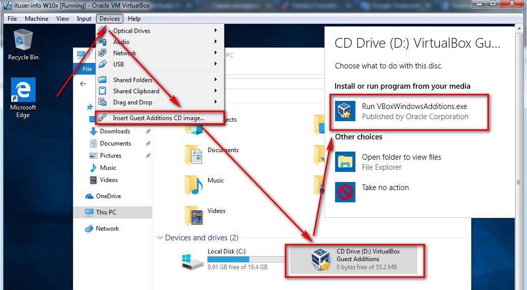 instal VirtualBox GuestAdditions