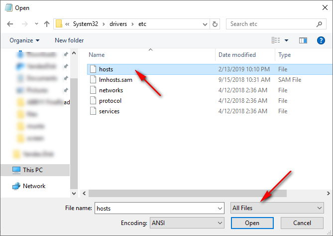 file hosts windows 10