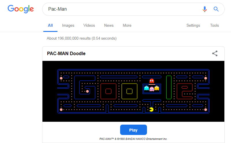 pac-man in google