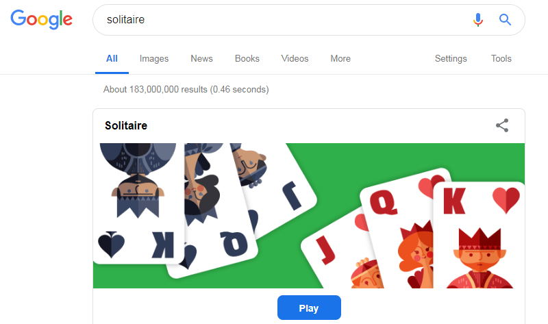 solitaire - functii ascunse google