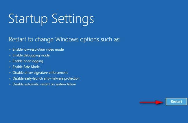 Startup settings windows 10 meniu