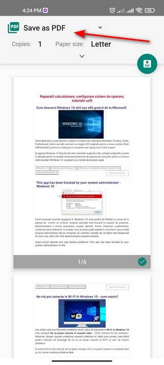salvare pagina web in pdf Android
