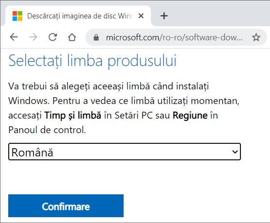 selectare limba pentru Windows 10