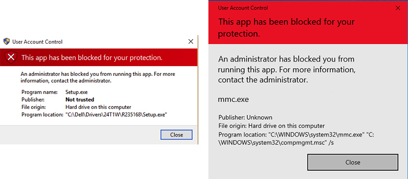 This app has been blocked by your system administrator