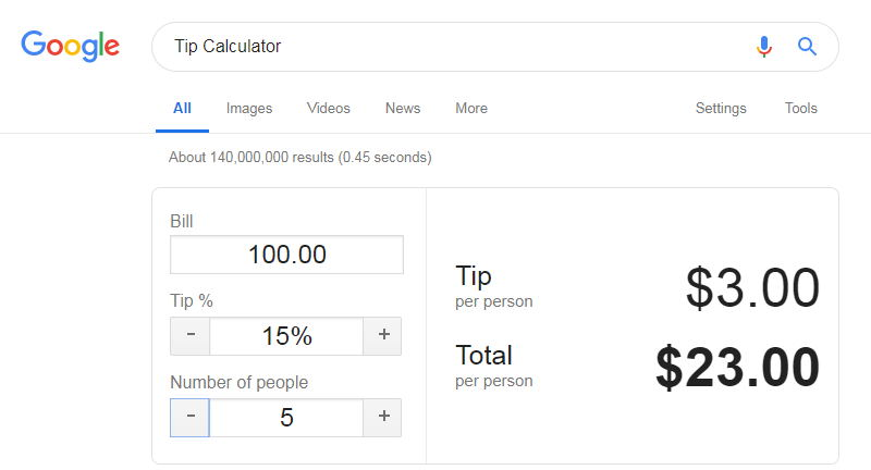 tip calculator google