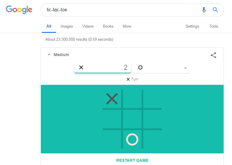 tic-tac-toe google secrete