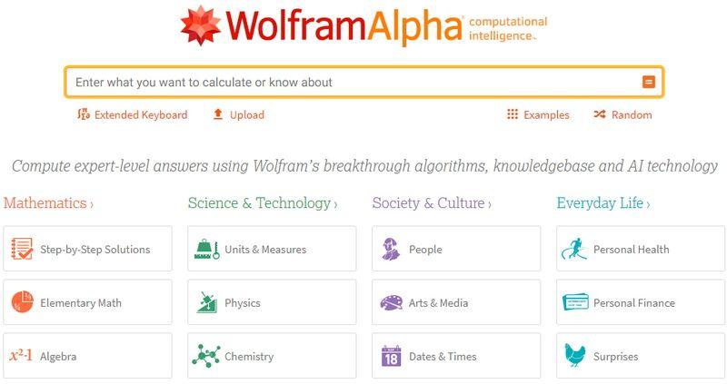 WolframAlpha - motr de cautare pentru calcule