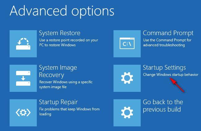 advanced option menu windows 10