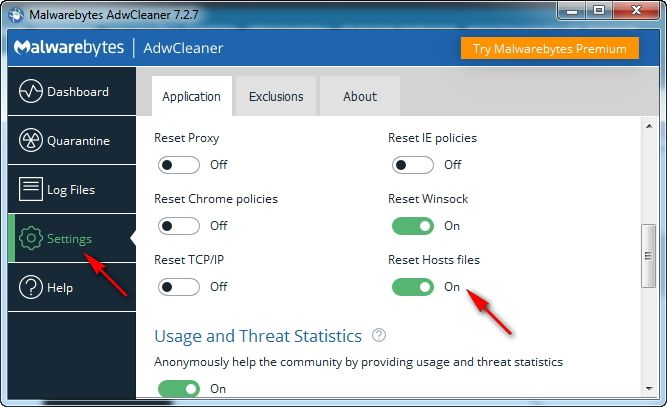 file hosts malwarebytes adw cleaner