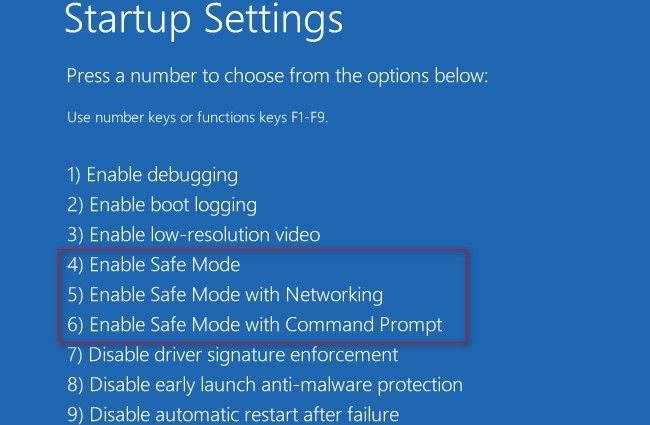 Safe boot menu settings Windows 10