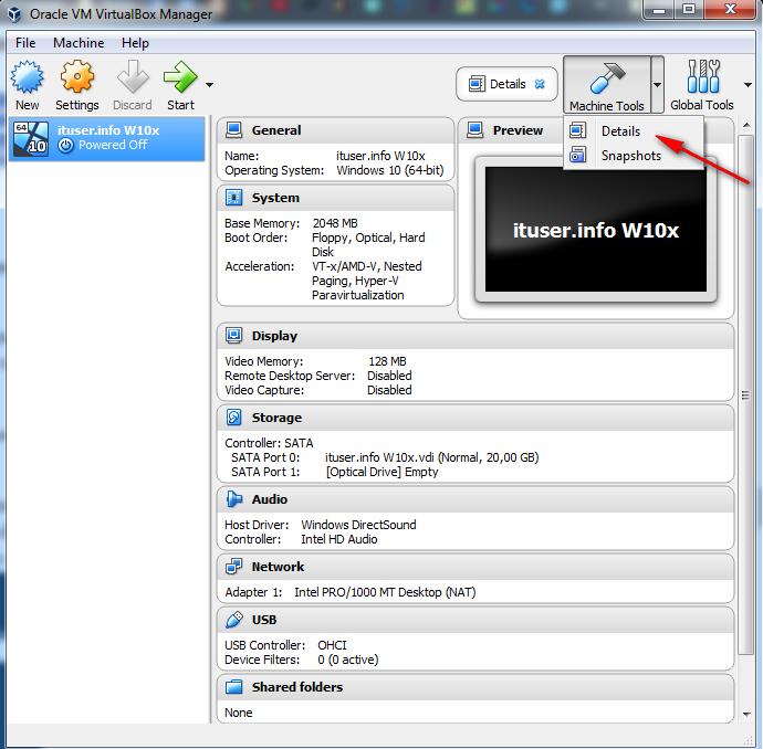 interfața VirtualBox Manager