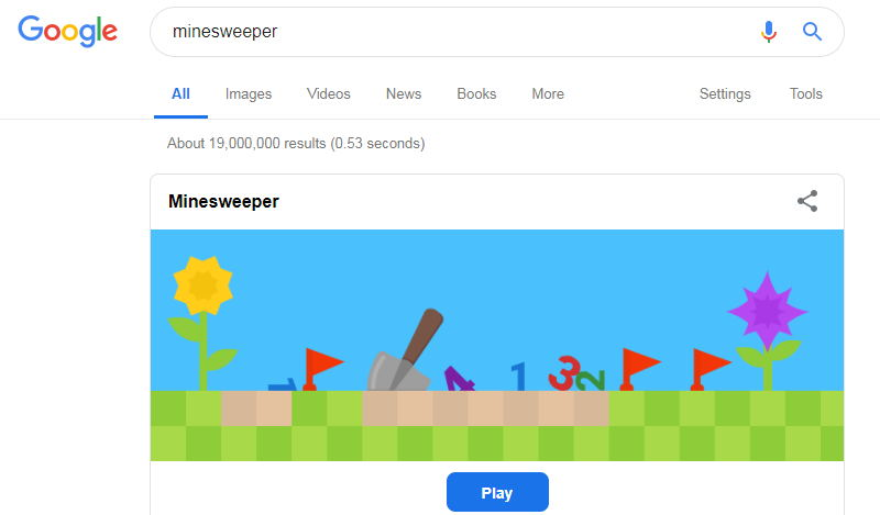 minesweeper google easter egg