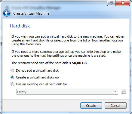 hard disk VirtualBox