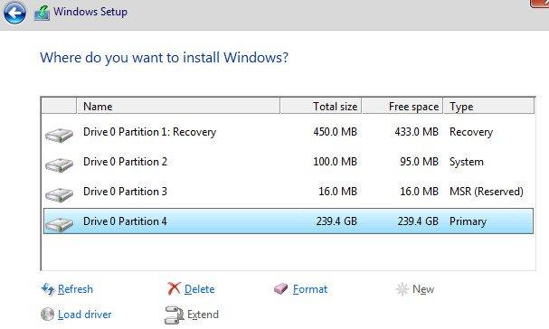 structură partiții windows 10